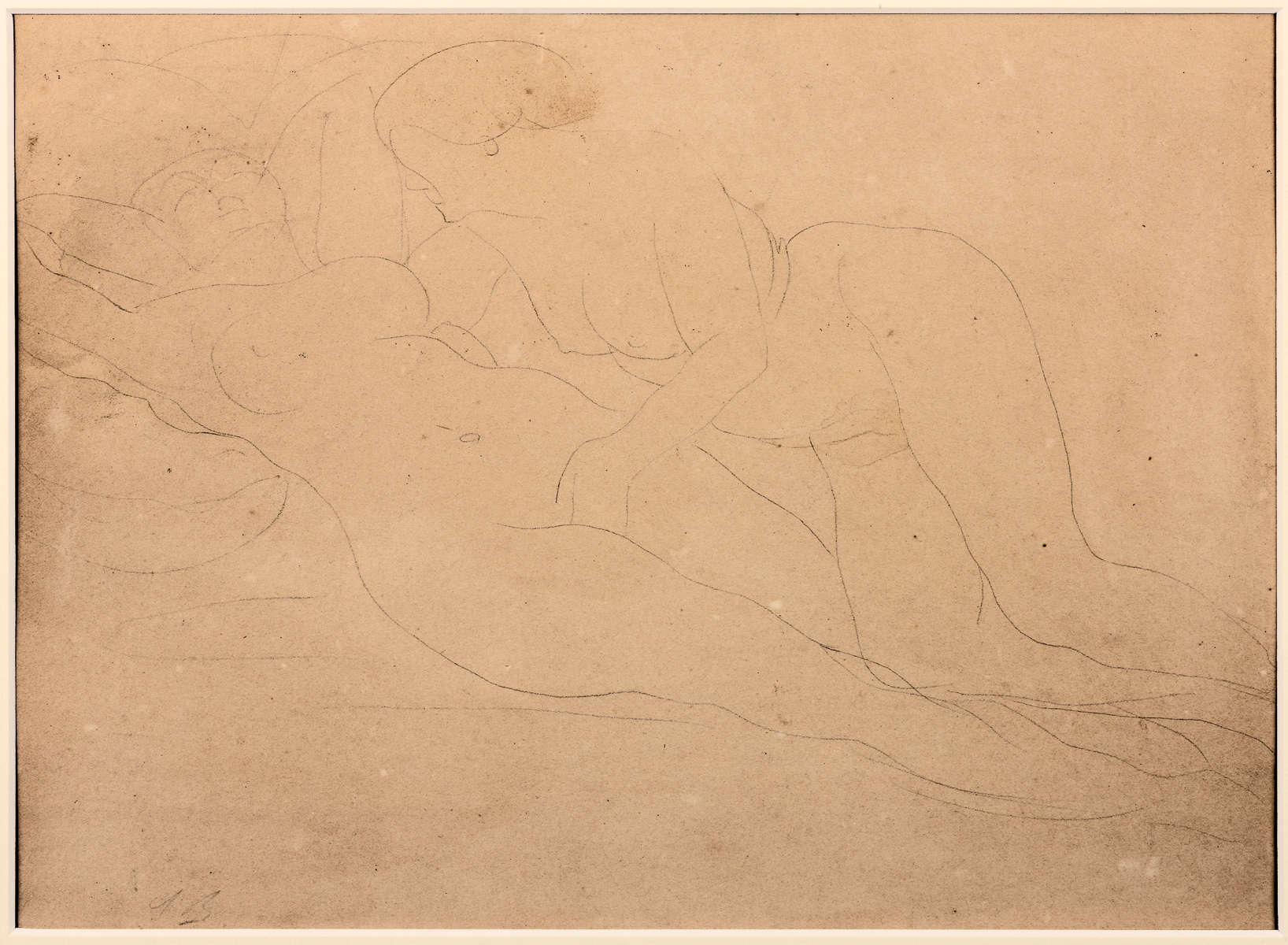 Auguste RODIN (1840-1917)Graphite on wove paper mounted to board24.1 x 31.8 cmSigned in graphite at the bottom left: 'A. R.'Inscribed on the verso on the board with stencil, black ink: 'A. Rodin /Drawing /Frame'n°153; annotated with brush: a picture framer label 106; 'Moirinat'