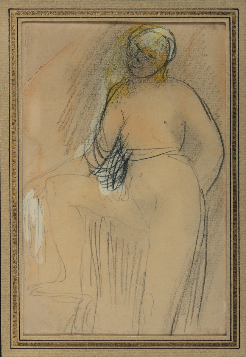 Auguste RODIN (1840-1917)Graphite, stump, watercolor and gouache on watermarked laid paper17.7 x 11.5 cm