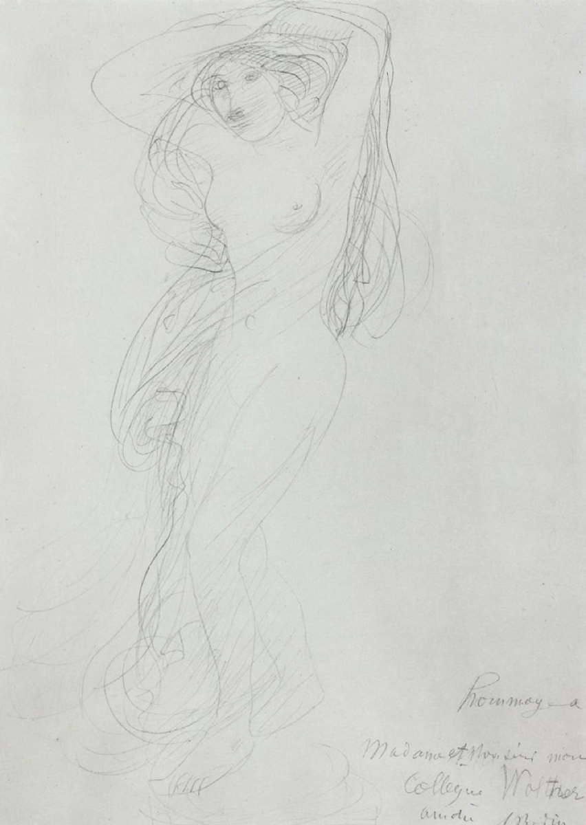 Auguste RODIN (1840-1917)Graphite on wove paper32 x 23.4 cmDedicated and signed lower right: 'homage à /madame et Monsieur mon/collègue Walther/amitié/A. Rodin'
