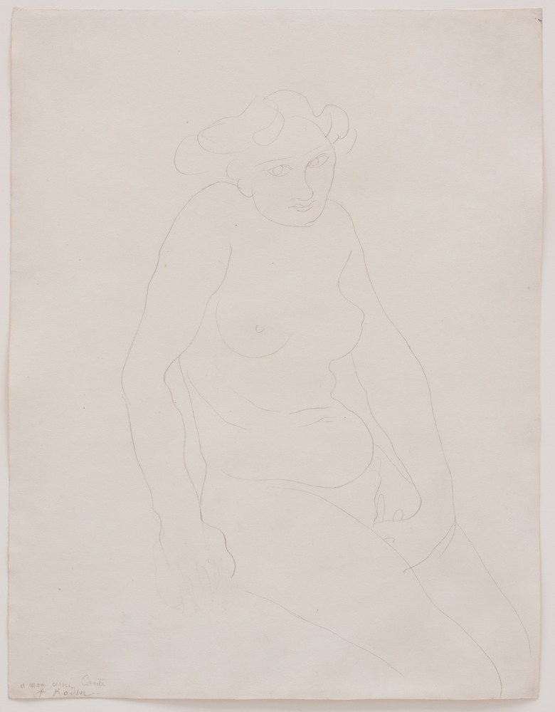 Auguste RODIN (1840-1917)Graphite on paper32.6 x 25.1 cmSigned and dedicated lower left « A mon ami Conte / A. Rodin » Drawn circa 1900and dedicated to Edouard Conte, art critic at « la Bataille » and « au Voltaire » NOTESThe present work is accompanied by a photo-certificate by Christina Buley-Uribe dated February 2, 2010 and numbered 100201.This work will be included in the forthcoming Catalogue raisonné dessins et peintures d'Auguste Rodin (1840-1917) currently being prepared by Christina Buley-Uribe.