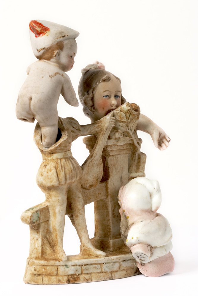 Satch Hoyt (b.1957)Baby & Girl and Elf giving headMixed-media, ceramic and porcelain 13 x 9 x 5 cm