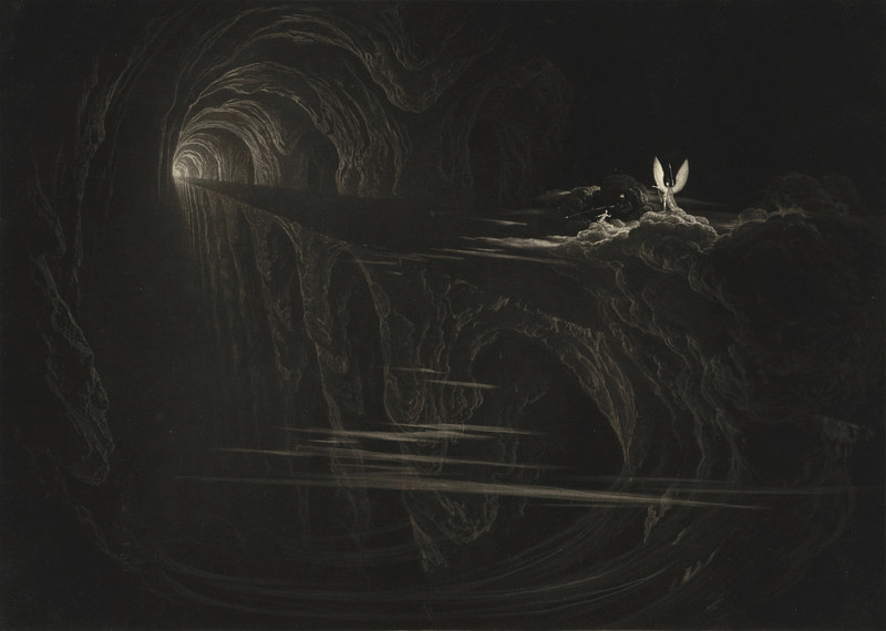 John MARTIN (1789-1854)Mezzotint on laid paper19,2 x 26,8 cmThe title work of the present exhibition is John Martin's most renowned subject, a mezzotint also conserved in major museums such as the Victoria & Albert Museum (London), the Art Gallery of New South Wales, and the National Gallery of Canada (Ottawa).