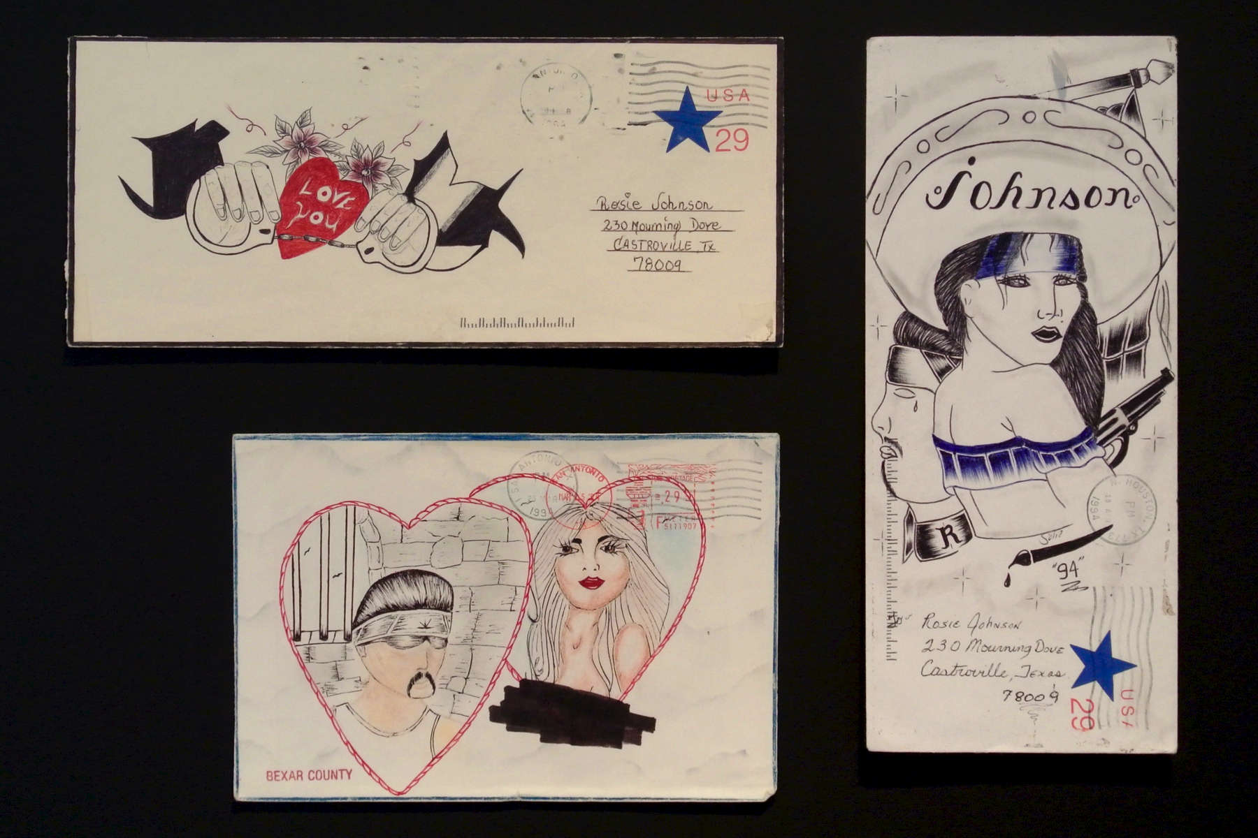 "Unidentified Chicano inmate-artistGrouping of 3 Paños Envelopes*Graphite, colored pencil, pen and ink on stamped, franked envelopesFramed size:  54,5 x 74,5 cm1.  Woman with sombrero, approx. 24,2 x 10,5 cm (95 x 41 inches) 2.  Couple in heart, approx. 18,5 x 12,5 cm (73 x 49 inches 3.  ""I love you"" with handcuffs, approx. 24,2 x 10,5 cm (95 x 41 inches)*Chicano inmates use hand-decorated envelopes in color or black and white to mail letters and paños (prisoner folk art made on a handkerchief). Demand for these envelopes can provide a profitable business for a convict skilled in drawing.Please click here for a comprehensive essay on paños by Martha V. Henry."