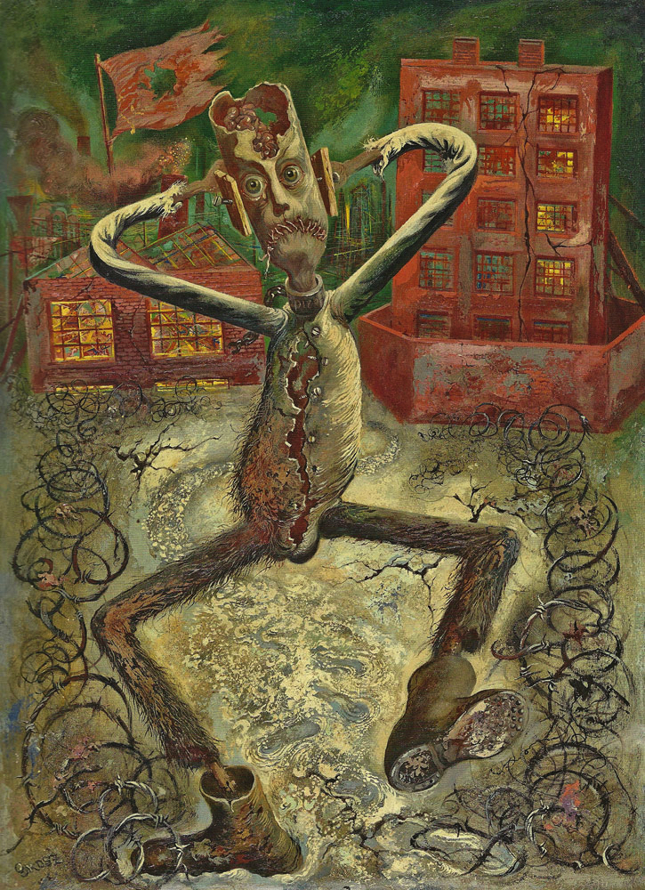 George GROSZ (1893-1959)Oil on Masonite 76 x 55,6 cmCourtesy: Ralph JentschThe Grey Man Dances (1949) is a rare and widely exhibited masterpiece by George Grosz, which was shown at the Whitney Museum of American Art (New York), the Neue Nationalgalerie (Berlin), and Centre Georges Pompidou (Paris).PROVENANCEThe artist's studio, Huntington, Long Island, 1949Lester G. Rees Collection, ChicagoJack Rutberg Fine Arts, Los AngelesPrivate collection, Italy, 1994LITERATUREManfred Fath, Inge Herold, Thomas Köllhofer, Menschenbilder. Figur in Zeiten der Abstraktion (1945-1955), illustrated p. 48, Berlin 1998Ralph Jentsch, Alfred Flechtheim – George Grosz: Zwei deutsche Schicksale, p. 138, Bonn 2008 Juerg M. Judin (Ed.), George Grosz. Die Jahre in Amerika 1933-1958, cat.-no. 51, illustrated p. 153, Ostfildern 2009EXHIBITEDGeorge Grosz: The Stick Men, Associated American Artists Galleries, New York, 12 April – 1 May 1948George Grosz, Whitney Museum of American Art, New York, 14 January – 7 March 1954; William Rockhill Nelson Gallery of Art, Kansas City, Missouri, 1 – 31 May 1954; The Pasadena Art Institute, 25 June – 25 July 1954; San Francisco Museum of Art, 17 August – 19 September 1954George Grosz: Berlin – New York, Neue Nationalgalerie, Staatliche Museen zu Berlin, 21 December 1994 – 17 April 1995; Kunstsammlung Nordrhein-Westfalen, Düsseldorf, 6 May – 30 June 1995; Staatsgalerie Stuttgart, 7 September – 3 December 1995George Grosz: Berlin – New York, Associated American Artists Galleries, New York, 12 December 1995 – 27 January 1996Face à l'histoire 1933-1936: L'artiste modern face à l'événement historique, Centre Georges Pompidou, Paris, 19 December 1996 – 7 April 1997George Grosz: Berlin – New York, The Museum of Modern Art, Kamakura, 8 April – 21 May 2000; The Itami City Museum of Art, 10 June – 30 July 2000; Tochigi Prefectural Museum of Fine Arts, 6 August – 24 September 2000George Grosz: Berlin – New York, Academie de France à Rome, Villa Medici, 9 May – 15 July 200