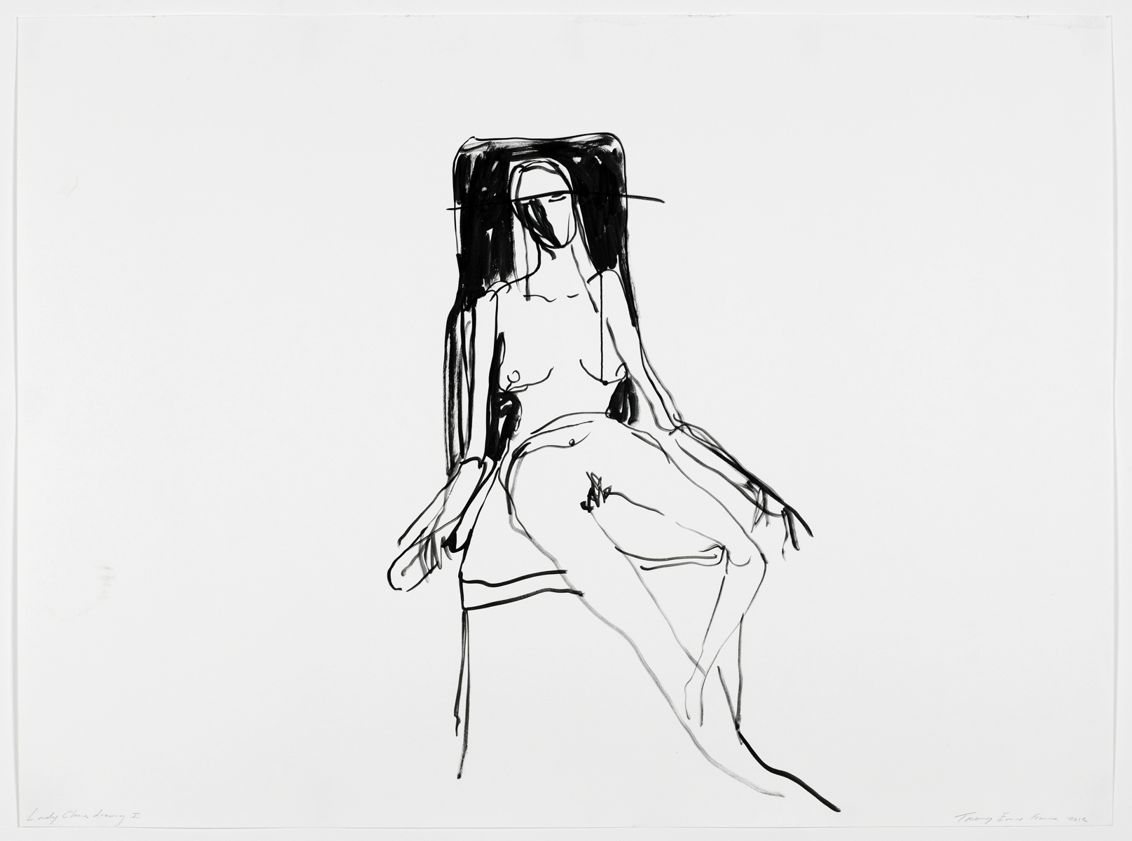 "Tracey EMIN (b. 1963)Lonely Chair drawing Igouache on paper101.5 x 137 cm (paper)110.5 x 150.5 x 5.1 cm (framed)EXHIBITEDTracey Emin - Egon Schiele, ""Where I Want to Go{quote}, Leopold Museum, Vienna, Austria from April 23 – September 19, 2015.LITERATUREKarol Winiarczyk, Tracy Emin 