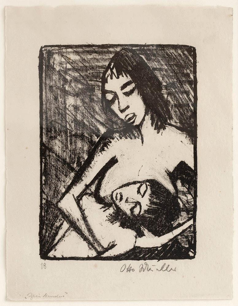 Otto MUELLER (1898–1979)Lithographie26 x 18.5 cmAuf leicht gehämmertem gelblichem Velin. Unten rechts signiert.Exemplar 18 einer auf 30 Exx. angelegten, jedoch wohl nichtausgedruckten Auflage Initialed der Zeitschrift «Die Gäste». Mit demTrockenstempel «Verlag der Galerie Ferdinand Möller»