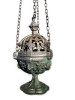 """A rare ornate brass church incense burnerpossibly French, or from FlandersIn very good condition evidence of """"vert-de-gris"""" patinaincense burner:20 x 11 cmoriginal chain: 90 cm"""