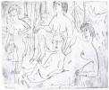 """Ernst Ludwig KIRCHNER (1880 –1938)Radierung25 x 31,2 auf 33,5 x 41,5 cm. Einer von drei bisher bekannt gewordenen Abzüge des Künstlers. Unten vom Künstler mit """"Nackte Menschen imFreien 24"""" betitelt und datiert.Rückseitig vom Künstler """"Clichéebreite ist die Breite des Satzspiegels des Kataloges"""" vermerkt sowie mit dem Nachlass-Stempel.Dube R 518"""