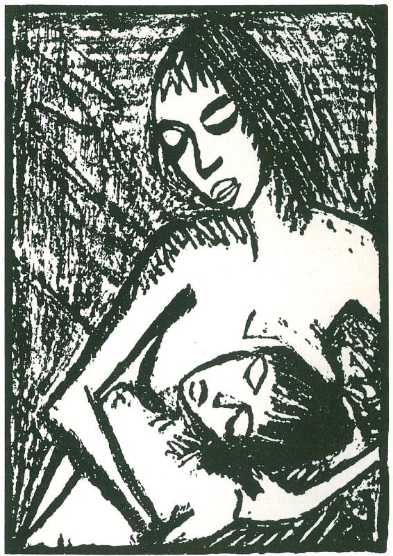Otto MUELLER (1874-1930)Lithographie26 x 18,5 auf 33,3 x 26,8 cmAuf leicht gehämmertem gelblichem Velin. Unten rechts signiert. Exemplar 18 einer auf 30 Exx. angelegten, jedoch wohl nicht ausgedruckten Auflage in der Zeitschrift «Die Gäste». Mit dem Trockenstempel «Verlag der Galerie Ferdinand Möller»