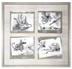 Daniel SPOERRI (b. 1930)Rahmen 55 x 58,5 cmGruppe von vier Assemblagen mit den Originaldrucken. In der unteren rechten Assemblage signiert.