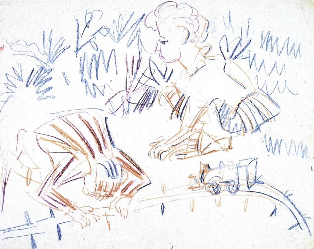 """Ernst Ludwig KIRCHNER (1880 –1938)Farbige Kreiden auf satiniertem Halbkarton 42 x 52 cmRückseitig """"Spielende Kinder im Raum"""" farbige Kreiden, unvollendet, 1924 sowie mit Nachlass-Stempel"""