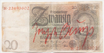 Joseph BEUYS (1921 - 1986)20 Reichsmark from 1924, with handwritten addition3 1/8 x 6 ¼ in (8 x 15,9 cm)Signed in red felt {quote}Joseph Beuys{quote}This work is uniquePlease click HERE for full fact sheet
