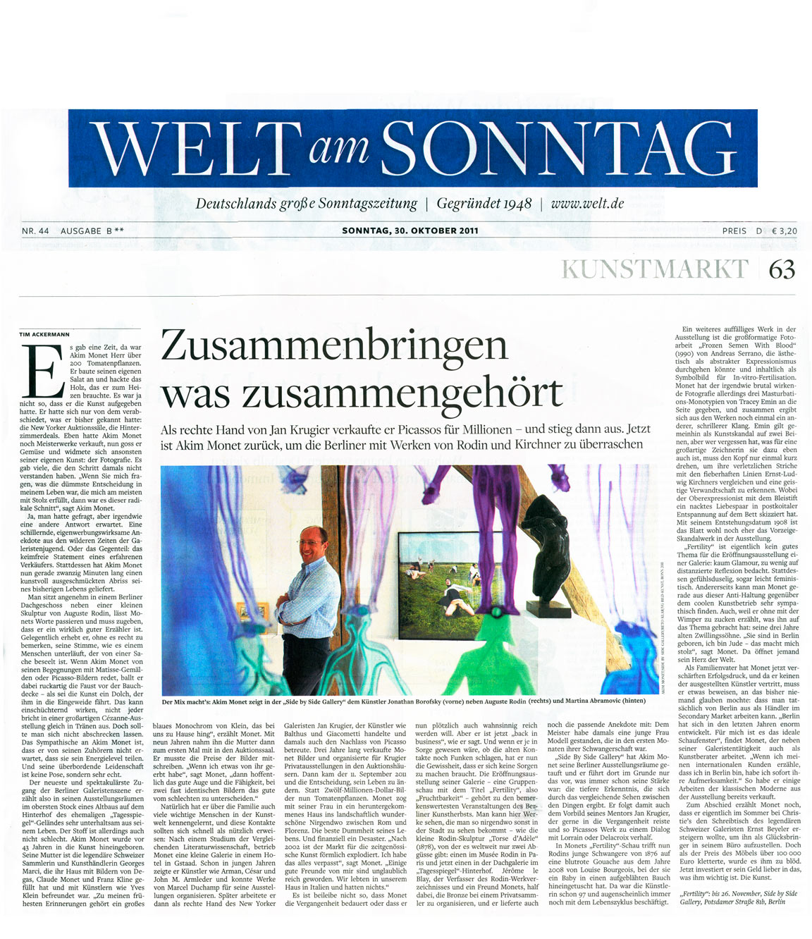PLEASE CLICK TO READ ON WELT ONLINE:Bringing together what belongs together (EN)Zusammenbringen was zusammengehört (DE)