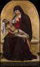 """MAESTRO DELLA MADONNA DEL PARTO(1371-1380)Venice, active Fourteenth CenturyPietàPanel 90.5 x 54 cmInscribed below: QVISTE LE DIT ITA *** HIS DVLCISIM VITA X (…) / PRO MVNDI VITA SUM CRVCIFIXVS ITA X (…)PROVENANCEFlorence, Villa Le Fontanelle, Marchese Filippo Serlupi Crescenzi collectionThe first recorded owner of this work, the Marchese Filippo Serlupi Crescenzi, was a wealthy lawyer and art collector who sheltered the great critic Bernard Berenson during the Nazi occupation of Florence in the final years of the Second World War .This relatively large and impressive gold ground depicts the Pietà, a scene that is not described in the Gospels.  It is, however, a further dramatization of the connection that the Virgin Mary has with her Son and the despair that she suffered at his Crucifixion.  Here, we see the Madonna seated on a ledge as the dead Christ is draped over her lap.  She looks at Him with calm sadness and supports his neck with her own shawl, as she would a newborn child.  His skin is a darker colour than His living mother, he is covered with drops of blood and his Stigmata wounds have a specific emphasis, all underlining the violence of His sacrifice.  Andrea De Marchi, who is responsible for reconstructing this artist's catalogue of works, has identified the artist of this picture as the Master of the Madonna del Parto, an artist in the circle of Niccolo di Pietrò and subsequently active in Venice at the end of the 14th Century.   He specifically compares the present work to others by the Master of the Madonna del Parto including St. Francis and St. Ludovic in the Musée du Petit Palais, Avignon; St. Egidius and St. Claire, formerly in the Ciardiello collection; and the Madonna of Humility and the Pietà in the Pushkin Museum, Moscow.  It is likely, based on stylistic comparisons, that this panel was executed around 1370.  See. E. Samuels, Bernard Berenson: The Making of a Legend, Cambridge, MA. and London 1987, p. 474  See A. De Marchi, """"Per un riesame de"""