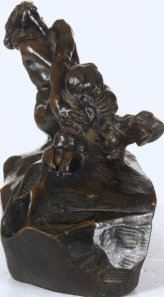 Auguste RODIN (1840-1917)bronze with dark brown patina Height: 19.1 cm (7½ in.) Conceived in 1885, cast by the Alexis Rudier Foundry, Paris circa 1928.signed 'Rodin' (on the back of the base) and inscribed 'Alexis Rudier Fondeur, Paris'