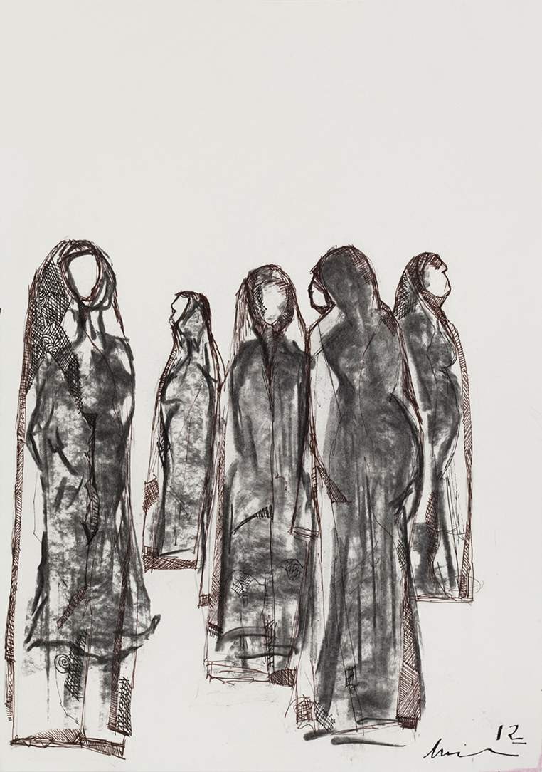 Amira BEHBEHANI (b. 1964)Charcoal & ink penImage size:  29.7 x 20.9 cmFramed:  50 x 40 cmSigned and dated, bottom right