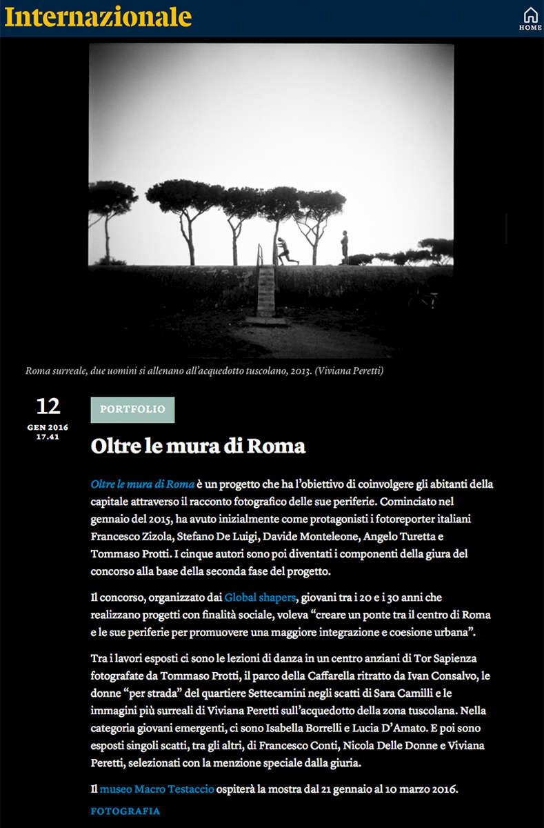 Surreal Rome awarded with a Special Mention at the 'Oltre le Mura di Roma' contest and exhibited at the MACRO Museum in Rome. See more at: http://www.internazionale.it/foto/2016/01/12/oltre-le-mura-di-roma-mostra-testaccio and http://www.vivianaperetti.com/#/urban-labyrinths/surreal-rome/caput_mundi_01