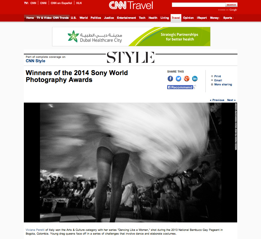 2014 SONY WORLD PHOTOGRAPHY AWARDS' Winners on CNN website.