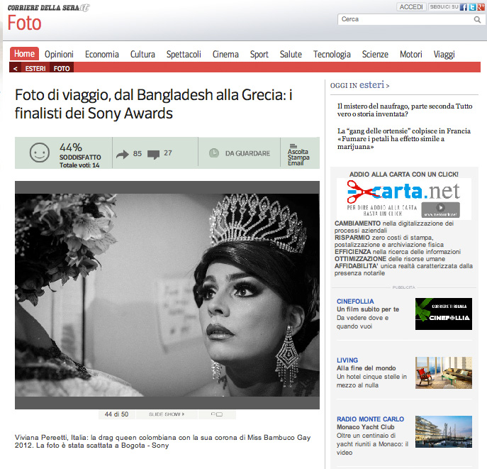 2014 SONY WORLD PHOTOGRAPHY AWARDS' Winners on Il Corriere della Sera website.
