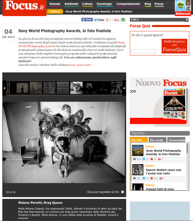 2014 SONY WORLD PHOTOGRAPHY AWARDS' Winners on Focus website.