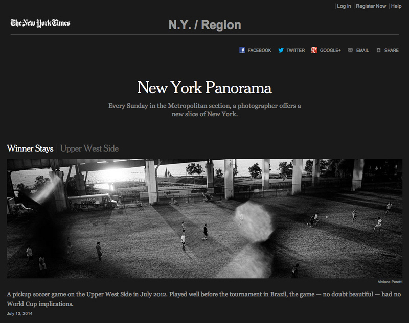 On the 13th of July 2014, the day of the 2014 World Cup Final, THE NEW YORK TIMES published this photo I took in July 2012 on the Upper West Side in New York. See more at: http://www.nytimes.com/interactive/nyregion/new-york-panorama.html?_r=0