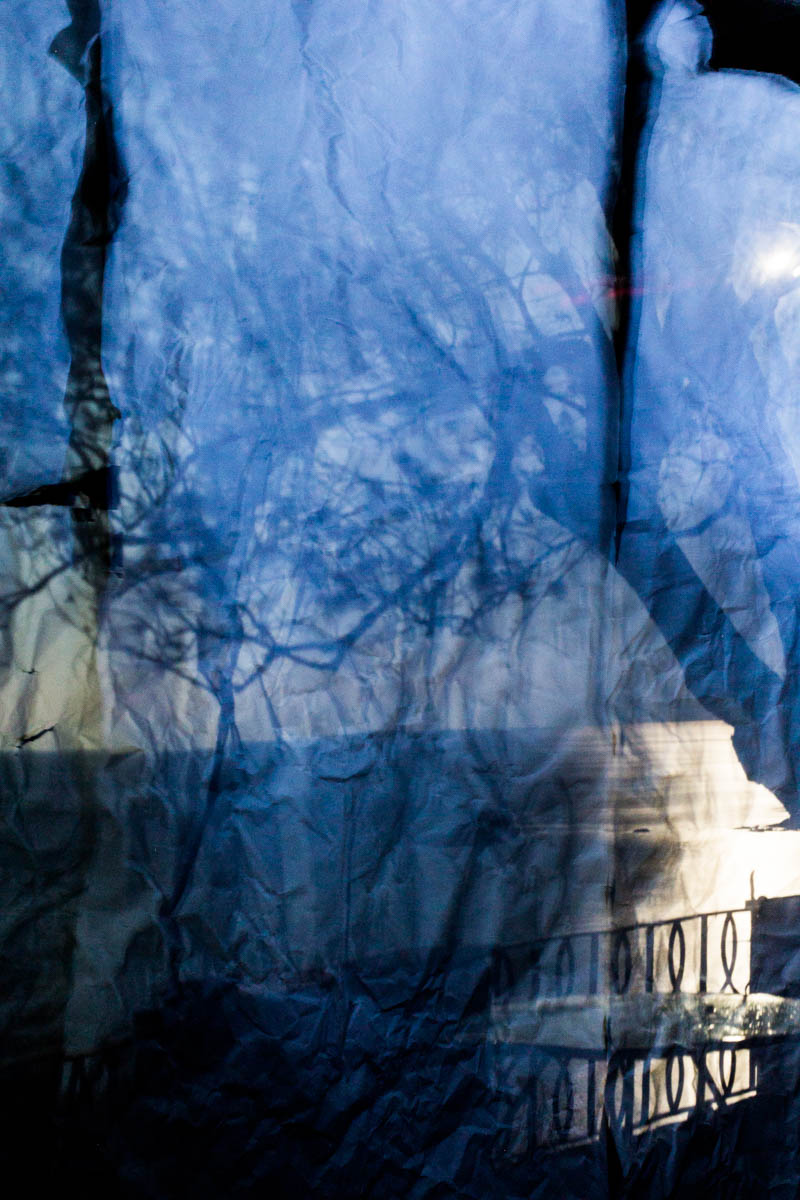 The Mediterranean seascape reflected on some sheets of paper hanging down in a camera obscura I built in a summer chalet at the bottom of a garden at the Bogliasco Foundation in Italy. Bogliasco, Italy, April 2017.