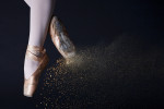 Kayla Raw, 21, from Reno, Nev., is jumping in demi plie inside the Mason St. Studios of Brooks Institute in Santa Barbara, Calif., on Saturday, October 8, 2011. Rosin was thrown at her shoes in order to give a dry break effect.