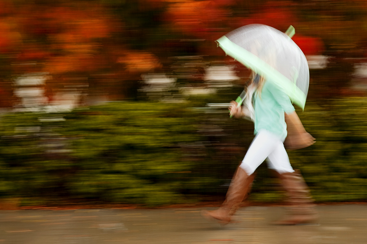 Danielle Gemberling, 20, from Santa Barbara, Calif., is walking through the neighborhood  on a rainy day in front of the bright fall leaves in San Luis Obispo to fulfill the concept of {quote}She has no face,{quote} for the fiction CD Label Cover. Gemberling is a college student at California Polytechnic State University in San Luis Obispo.