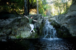 Zaiah Jones, 18, from San Francisco, Calif., is ballet dancing in the creek off the Cold Springs Trail in Santa Barbara, Calif., on Thursday, December 8, 2011. Jones is currently on the worship driven hip hop team, NSTEP, through Westmont College and continues his ballet training.