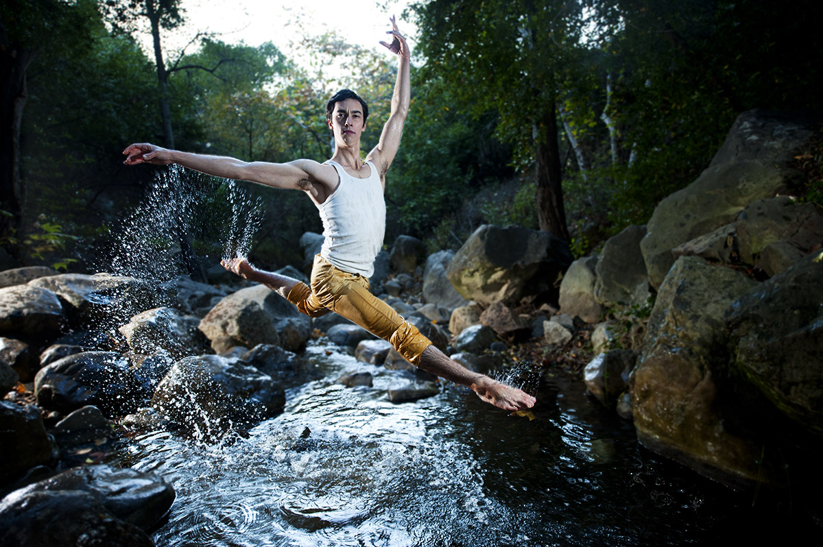 Zaiah Jones, 18, from San Francisco, Calif., is ballet dancing in the creek off the Cold Springs Trail in Santa Barbara, Calif., on Thursday, December 8, 2011. Since Jones was 8 years old he has had the pleasure to dance with Castro Valley Performing Arts, San Francisco Ballet School, and Berkely City Ballet.