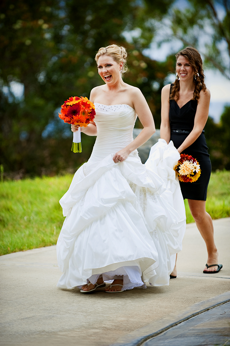 Bride, Keren Smeltzer, 28, from Laguna Niguel, Calif., is walking towards her fiance, Jason Broce, 33, from Lake Forest, Calif., for their first look at South Shores Church in Dana Point, Calif., on Saturday, October 20, 2012. The couple's wedding reception was movie themed.