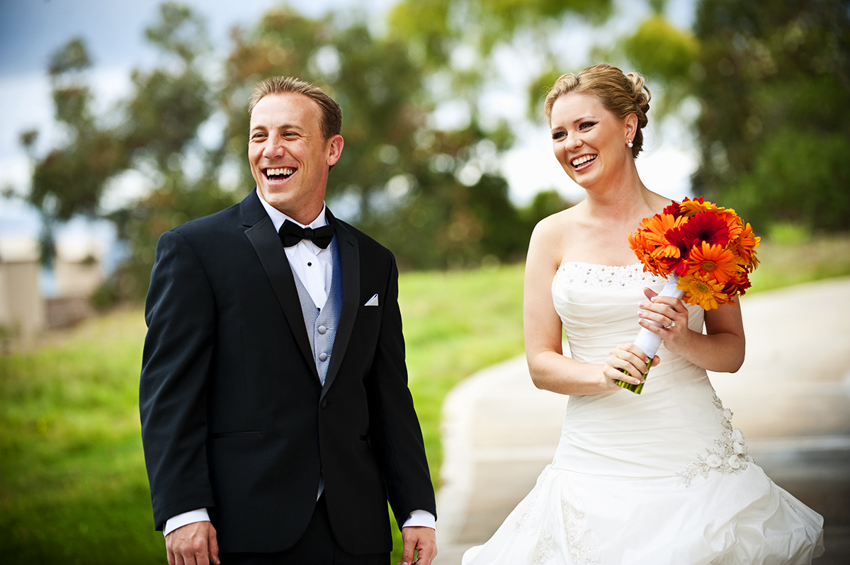Groom, Jason Broce, 33, from Lake Forest, Calif., is with his bride, Keren Smeltzer, 28, from Laguna Niguel, Calif., are living the happiest moments of their lives to date getting married at South Shores Church in Dana Point, Calif., on Saturday, October 20, 2012. The couple's wedding reception was movie themed. Mr. Broce said, {quote}I love her smile, how kind she is, and just everything about her.{quote} Mrs. Broce said, {quote}I love you baby, I miss you already.{quote} right after having their first look and seperating ways before she walks down the aisle to officially become Mrs. Jason Everett Broce.