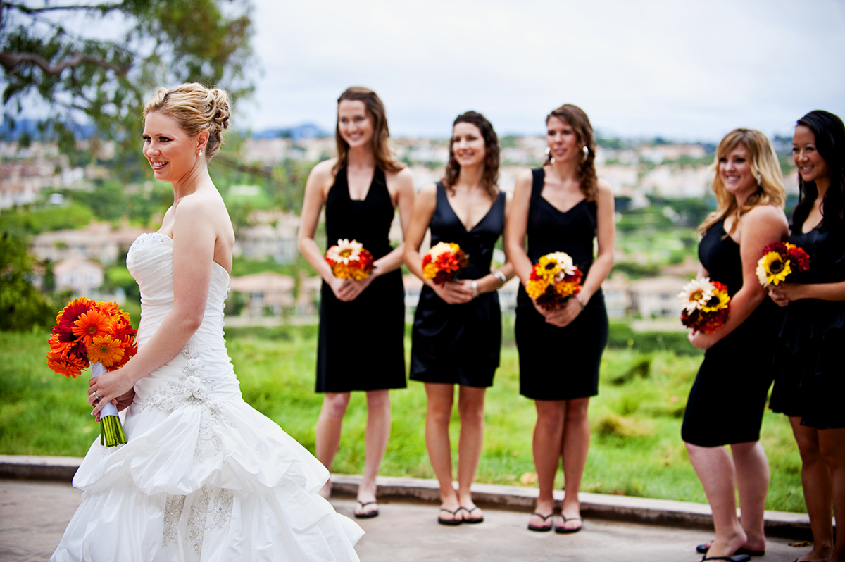 Bride, Keren Smeltzer, 28, from Laguna Niguel, Calif., is with her bridesmaids before her first look with her fiance, Jason Broce, 33, from Lake Forest, Calif., at South Shores Church in Dana Point, Calif., on Saturday, October 20, 2012. The couple's wedding reception was movie themed.
