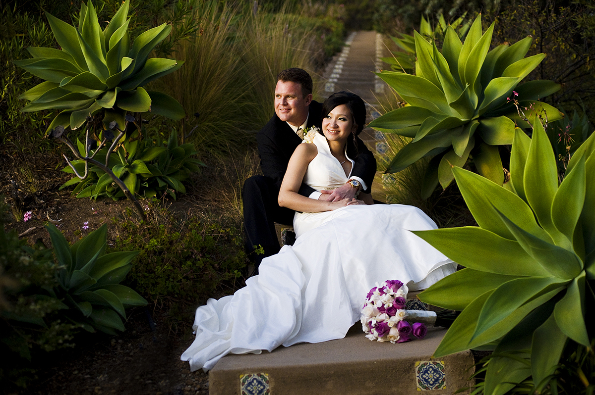 Groom, Jeff Grant, 38, from Huntington Beach, Calif., is with his bride, Eva Wu, 30, from El Monte, Calif., watching the sunset together after just becoming Mr. and Mrs. Jeff Grant at an ocean view home in Malibu, Calif., on Saturday, October 27, 2012. The two were wed under a gazebo for an intimate ceremony with their close friends and family. Mr. Grant said, {quote}I love her personality,{quote} he continues, {quote}when we are together everything is easy, natural, and we have a good time.{quote} Mrs. Grant said, {quote}He makes me laugh all the time,{quote} she continues, {quote}He's sweet and spoils me all the time.{quote}