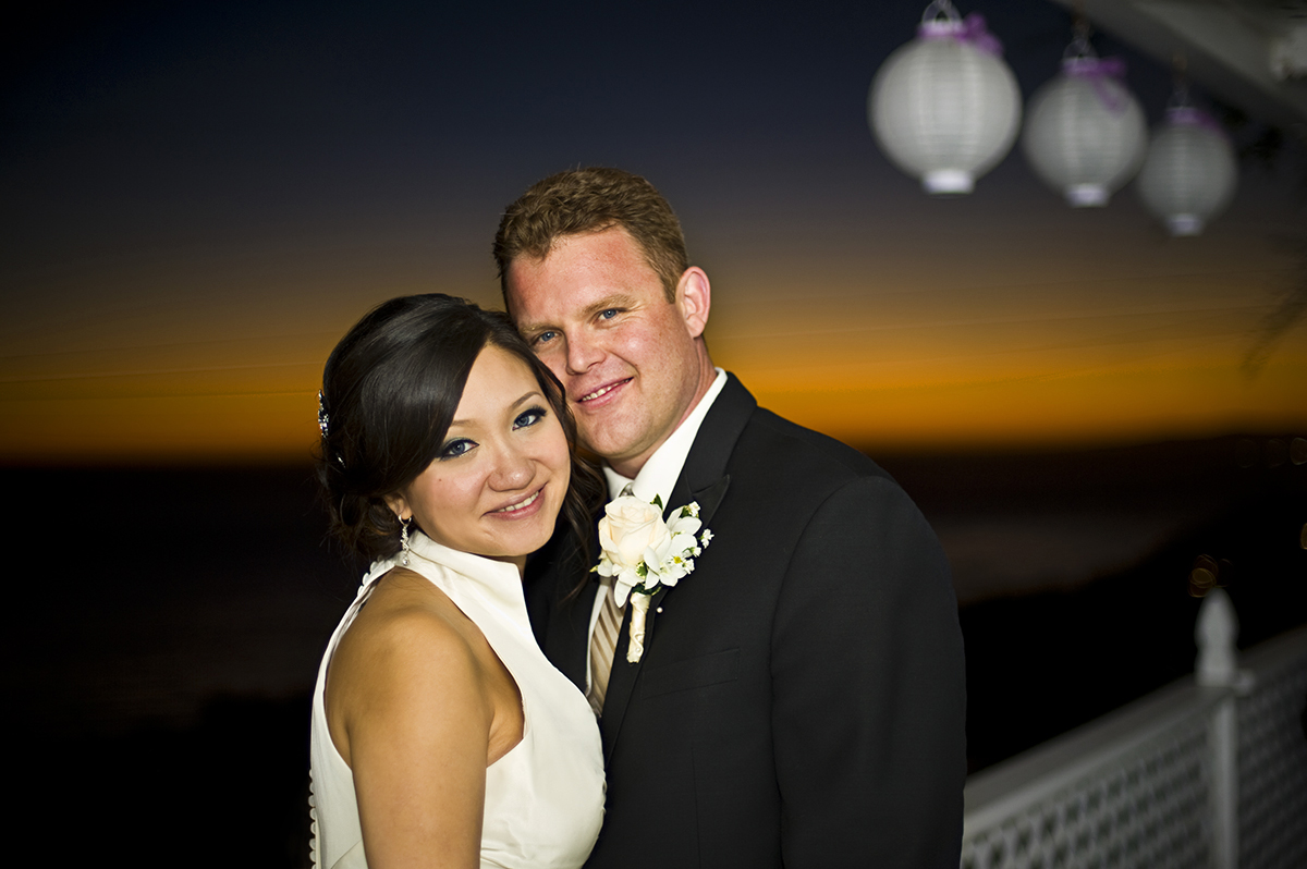 Groom, Jeff Grant, 38, from Huntington Beach, Calif., is with his bride, Eva Wu, 30, from El Monte, Calif., living the happiest moments of their lives to date getting married at an ocean view home in Malibu, Calif., on Saturday, October 27, 2012. The two were wed under a gazebo for an intimate ceremony with their close friends and family. Mr. Grant said, {quote}I love her personality,{quote} he continues, {quote}when we are together everything is easy, natural, and we have a good time.{quote} Mrs. Grant said, {quote}He makes me laugh all the time,{quote} she continues, {quote}He's sweet and spoils me all the time.{quote}