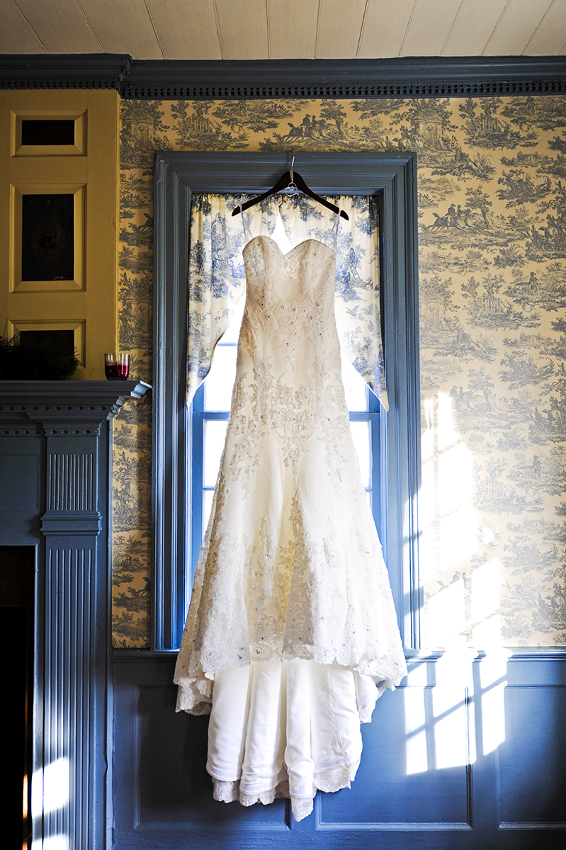 Bride, Sarah Schultz's wedding dress hangs inside the beautiful plantation of the Vesuvius Vineyard in Iron Station, North Carolina where she will be wed to Duncan Carlton on December 29, 2012.