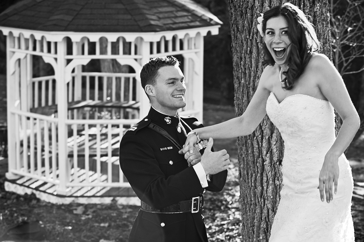 Groom, Duncan Mark Carlton, 26, from Laguna Niguel, Calif., has just seen his bride, Sarah Ann Schultz, 28, from Laguna Niguel, Calif., for the first time on their wedding day, Saturday, December 29, 2012 at the Vesuvius Vineyard in Iron Station, North Carolina. Carlton kept expressing how beautiful he though his bride looked!