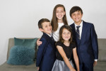 In celebration of Isabella Sztuden's, 11, upcoming Bat Mitzvah, the Sztuden's and their extended family from out of town have family portraits taken at the childhood home of Isabella's mother, Leslee, on Friday, June 24, 2016 in Sherman Oaks, Calif.  Isabella Sztuden is surrounded by her siblings, Aiden Sztuden, 10, Benjamin Sztuden, 7, and Abigail Sztuden, 5.