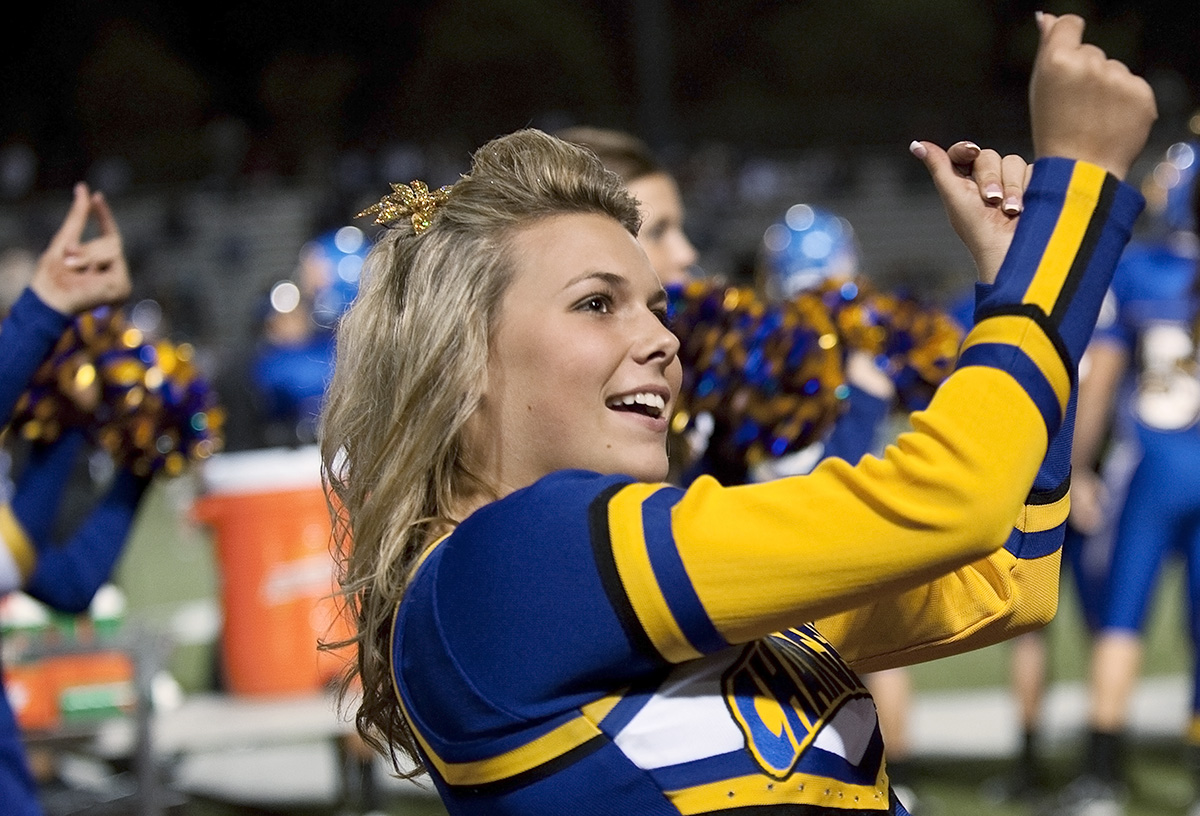 Senior Danielle Copass, 17, is cheering for the El Toro High School Chargers football team on Friday, October 14, 2009 at Trabuco Hills High School during the Homecoming football game vs. Northwood High School in Trabuco Hills, Calif. The Chargers finished the Homecoming game with a victory and shut-out against Northwood High School 38 - 0.