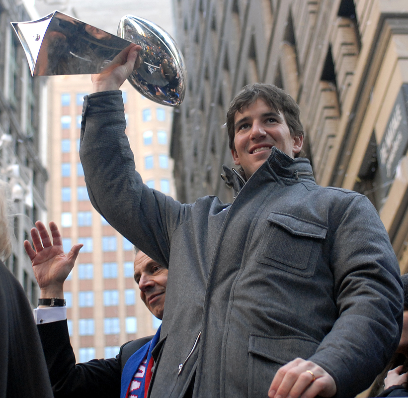 February 7 - New York Giants Tickertape ParadeEli Manning with the Lombardi Trophy