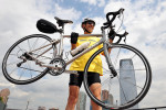 The Rev. Roland Ratmeyer of Bayonne, N.J., will ride his bike across America for charity. He was photographed at Liberty State Park. (Reena Rose Sibayan | The Jersey Journal)