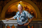 Frank Wasniewski is one of two living Pearl Harbor survivors from Hudson County. He was photographed inside the Brennan Courthouse. (Reena Rose Sibayan | The Jersey Journal)