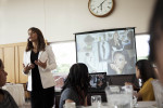 Middle school and high school students in the Futuros Empresarios and Dream programs learn etiquette at Table Manners 101, a dining etiquette program taught by Kristin Eichol at DeSales University in Central Valley, Pennsylvania. Zenddy Caicedo Tintle also presented.