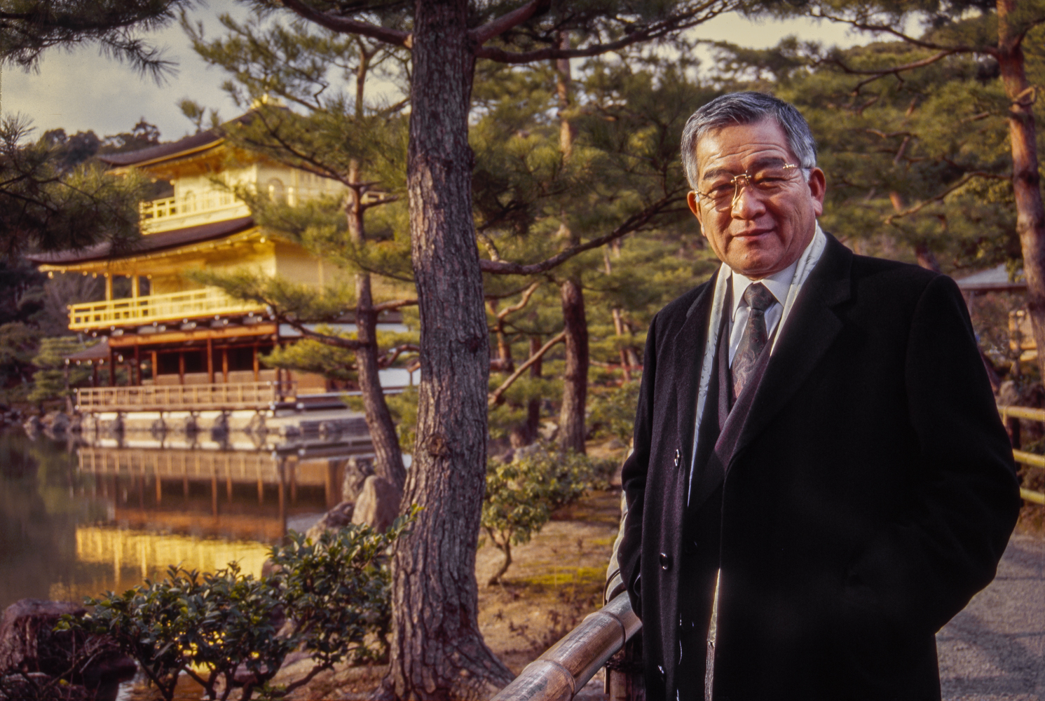 This semiconductor industry executive based in Tokyo represents a Silicon Valley corporation.  He is seen here at Kinkakuji, a Zen temple in Kyoto and the home of shogun Ashikaga Yoshimitsu before his death in 1408.
