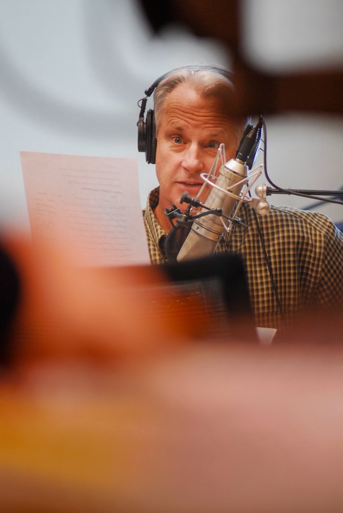 Radio interview host Dick Gordon is seen recording a segment of The Story for American Public Media and WUNC.