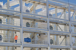 The air scrubber system at the Orange County Sanitation District Plant No. 2 has twenty columns of odor control media.