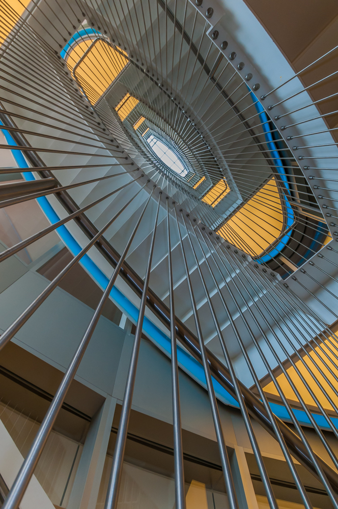 The central atrium stairway of the SOM-designed Genome Sciences Building at UNC in Chapel Hill, NC, features elements resembling a DNA helix.
