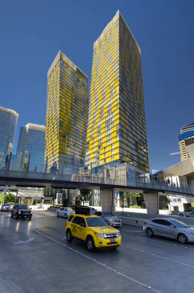 The striking Veer Towers in Paradise, Nevada, on the Las Vegas Strip, were designed by Murphy/Jahn Architects, are 480 feet high, and lean away from each other at five degrees off center.