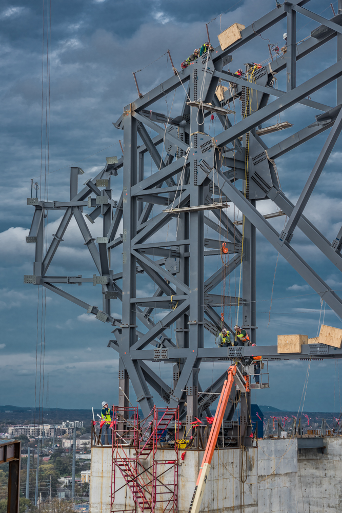 Ironworkers assemble one of the unique structures that support the innovative retractable roof of Atlanta's Mercedes-Benz Stadium.