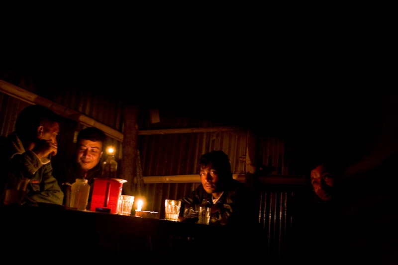 Men gather at a local bar on the outskirt of Kathmandu.